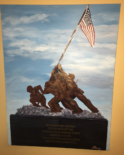 """Raising the Flag on Iwo Jima statue"", 48"" x 36"" acrylic"